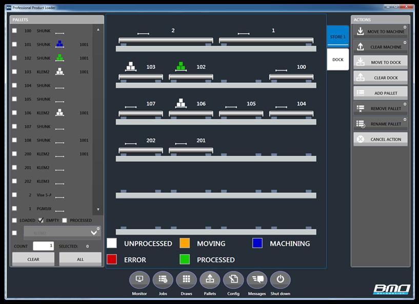 user-interface, overzicht  pallets